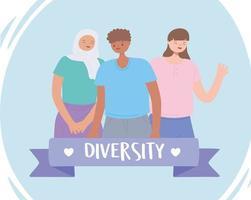 olika multiracial och mångkulturella människor, tillsammans man och kvinna mångfald karaktär tecknad