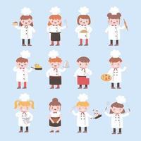 Cartoon Charakter Köche Mädchen und Jungen lustig kochen leckeres Essen vektor