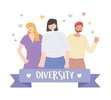 verschiedene multikulturelle und multikulturelle Menschen, verschiedene Gruppen und ethnische vektor