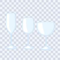 Plastik- oder Glasbecher Flaschenmodelle, verschiedene Glasbecher für alkoholische Getränke vektor