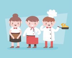 Koch-Zeichentrickfilmfigur des Kochs mit weiblicher und männlicher Kellnerin der Pfanne vektor