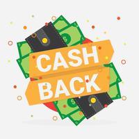 Kassa tillbaka plånbok vektor