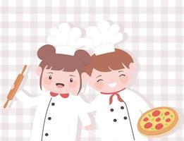 niedliche Mädchen- und Jungenköche Zeichentrickfigur mit Nudelholz und Pizza vektor