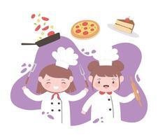 kleine Mädchen Koch Zeichentrickfigur mit Pizza Kuchen und Utensilien vektor