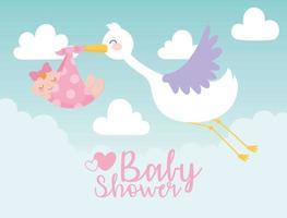 Babyparty, Storch, der kleines Mädchen in der Decke trägt, begrüßen neugeborene Feierkarte vektor
