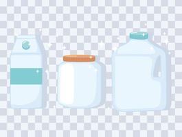 Plastik- oder Glasbecher Flaschenmodelle, Flaschenglas und Kastenbehälter vektor