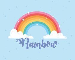 Regenbogen mit Wolken magische Karikaturbeschriftung Dekoration