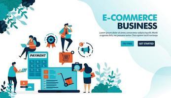 ekosystem inom e-handel. börjar välja produkt, betalningsfraktmetod. miniräknare för påsar. platt vektorillustration för målsida, webbplats, banner, mobilappar, flygblad, affisch vektor