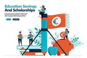 Vektorillustration der Leute winken Geldfahne mit Bleistift. Geld sparen in einem Sparschwein für Bildungsausgaben. Bildungsstipendium. Design für Landing Page, Web, Banner, Vorlage, Poster, UI UX
