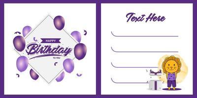 fyrkantig födelsedagsfest inbjudan kort mall design med lejon karaktär design