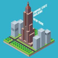 Empire State Building New York Isometrisk Illustration