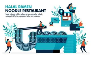 Vektorillustration der Schüssel Halal-Ramen-Nudeln mit Stäbchen. Lage der Halal japanischen Restaurants in der Stadt. Bewertung Halal Ramen und Orintel Küche. Nudeln mit einem Glas grünem Tee