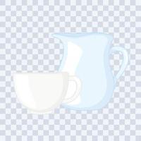 Plastik- oder Glasbecher Flaschenmodelle, Glaskrug und Kaffeetasse vektor