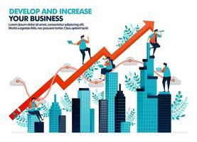 Vektor-Illustration zur Verbesserung der Geschäftsleistung durch Investitionen in Immobilien. signifikantes Geschäftswachstum mit Statistiken und Diagrammen. Entwicklung eines Unternehmensvermögens. für Landing Page, Web, Poster vektor