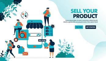 marknadsplattform för försäljning med smartphone. skapa butik eller företag med ett mobilt system. online-internetkampanj. platt vektorillustration för målsida, webb, webbplats, banner, mobilappar
