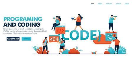 kodning och programmering för att hitta fel i koduppsättning för att lösa felproblem, 404, hittades inte. programmering för programvara och mobilappar. mänsklig vektorillustration för webbplats, mobilappar och affisch vektor