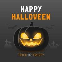 glad halloween banner mall med spöklik pumpa vektor