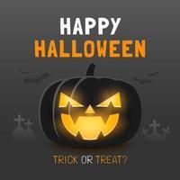 Happy Halloween Banner Vorlage mit gruseligen Kürbis