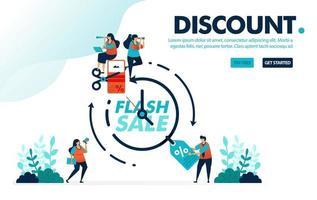 Vektor-Illustration Rabatt Flash-Verkauf. Menschen, die innerhalb eines bestimmten Zeitraums kämpfen und Rabattgutscheine beanspruchen. Zeit für einen Flash-Verkauf. Entwickelt für Landing Page, Web, Banner, Handy, Vorlage, Flyer, Poster