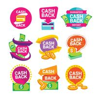 Geld-Cashback-Vektor-Etiketten und Aufkleber