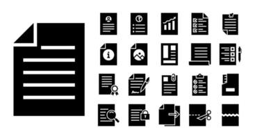 dokumenterar glyph ikonuppsättning vektor