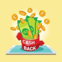 Digitale Zahlung oder Online-Cashback-Service vektor