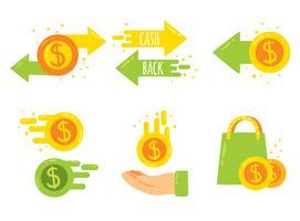 Rückzahlungs-Element auf schwarzem Vektor