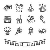 nyårsdagen ikonuppsättning vektor