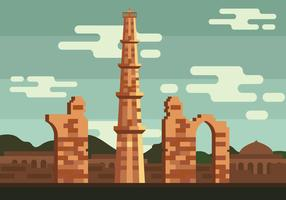 qutub minar vektor illustration