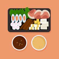Läckra hetpot och ingrediensvektorer vektor