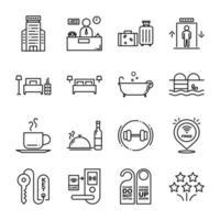 hotell och vandrarhem ikonuppsättning