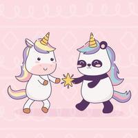 enhörning och panda med stjärntecknad magisk fantasi