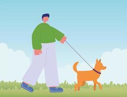 ung man med hund promenader vektor