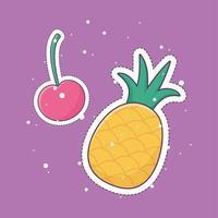 ananas körsbär lapp mode badge klistermärke dekoration ikon vektor