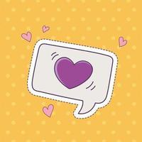 pratbubblan hjärta patch mode badge klistermärke dekoration ikon vektor