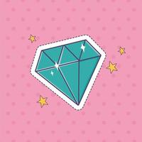 Diamant Edelstein Patch Mode Abzeichen Aufkleber Dekoration Symbol vektor
