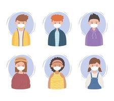 Menschen mit schützenden medizinischen Gesichtsmasken, Prävention Coronavirus-Ausbruch Krankheit covid 19 vektor