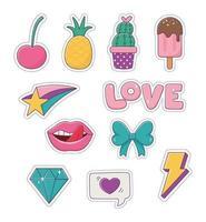 lappar ananas glass kaktus båge läppar diamant kärlek mode badge klistermärke dekoration ikoner vektor