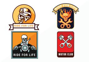 Weinlese-Motorrad-Emblem-Vektor-Satz