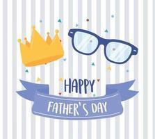 glad fars dag, guldkrona och glasögon bakgrund vektor