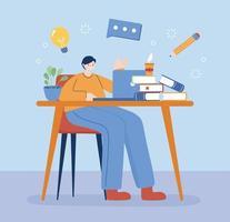 man med bärbar dator och böcker om skrivbordsvektordesign