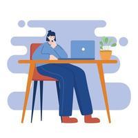 Frau mit Laptop auf Schreibtisch Vektor-Design