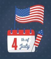 Unabhängigkeitstag Flagge Kalender und Feuerwerk Vektor-Design