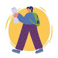 flicka med papper och ryggsäck promenader
