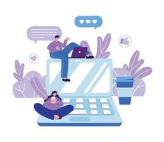Mann mit Laptop und Frau mit Smartphone Laptop Media Network Chat vektor