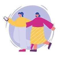 zwei junge Frau, die mit dem Gehen des Smartphones umarmt vektor