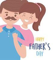 Vater mit Tochter am Vatertag Vektorentwurf