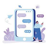 ung kvinna med smartphone-appen bubblar chattar vektor