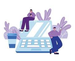 Menschen, die Smartphone-Laptop-Website-Anwendung chatten