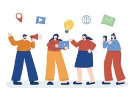 Mann und Frauen mit digitalem Symbol setzen Vektordesign